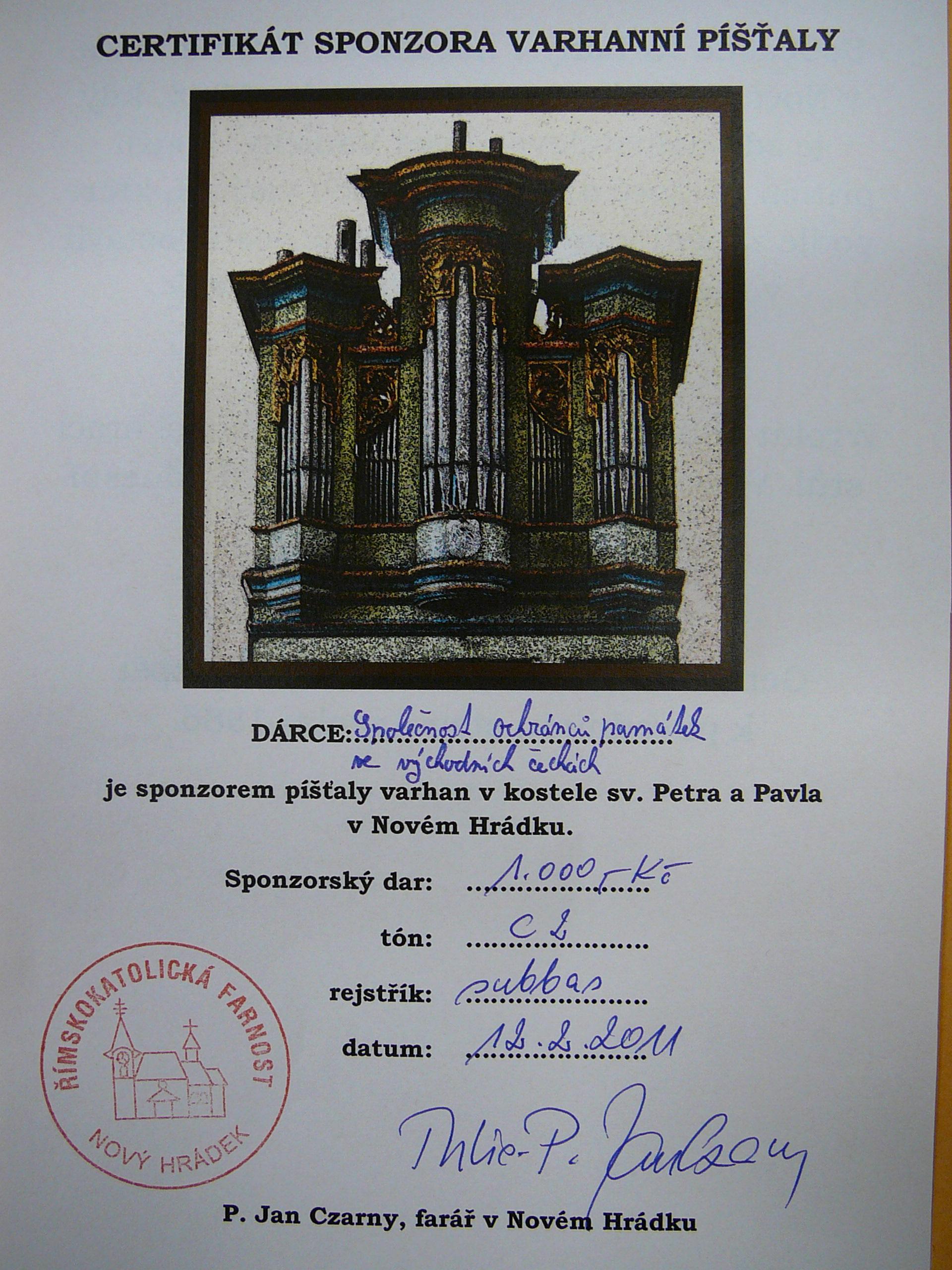 Certifikát o sponzorském daru