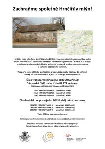 veřejná sbírka na záchranu a opravu Hrnčířova mlýna